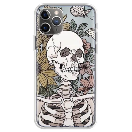 White Skeleton Yellow & Red Flowers Awesome iPhone 12 Case