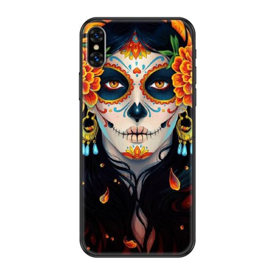 Mexican Skull Girl Orange Makeup Day of The Dead iPhone 12 Case