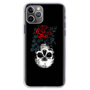Awesome Skull Red Rose Upside Down Black iPhone 12 Case