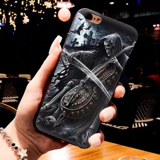 Grim Reaper Playing Cello Awesome Skull iPhone 12 Case