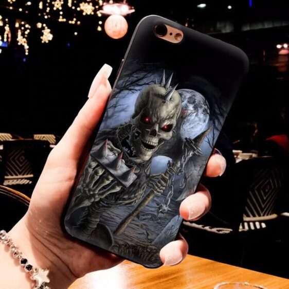 Badass Skeleton Holding Knuckles & Axe Cool iPhone 12 Case