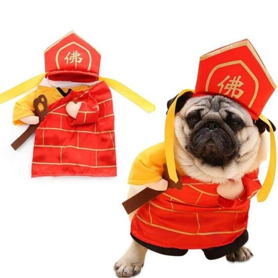 Funny Buddha Monk Cosplay Costume With Red Hat For Dog - Woof Apparel