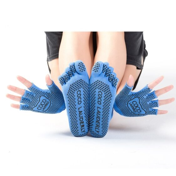 1 Pair Set Five Finger Striped Non-Slip Silicone Grips Yoga Gloves And Yoga Socks