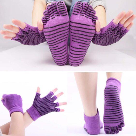 1 Pair Set Five Finger Striped Non-Slip Silicone Grips Yoga Gloves And Yoga Socks - Yoga Socks - Chakra Galaxy