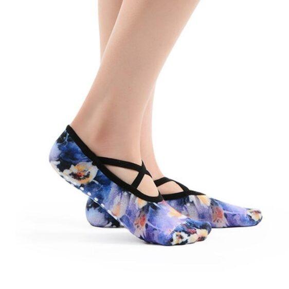 3 Pairs Crossbelt Anti-Slip Anti-Sweat Printed Design Pilates Yoga Socks - Yoga Socks - Chakra Galaxy
