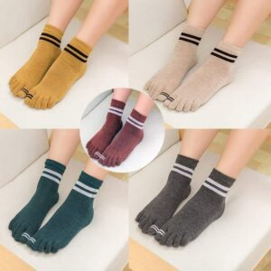 3 Pairs Fashion Stripe Design Mid Cut Five Finger Closed-Toe Yoga Socks - Yoga Socks - Chakra Galaxy