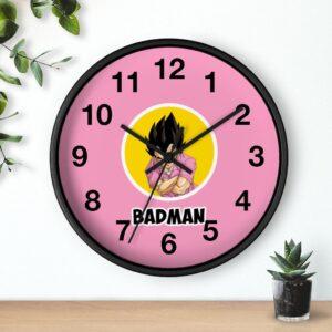 Dragon Ball Z Vegeta Badman Illustration Pink Wall Clock