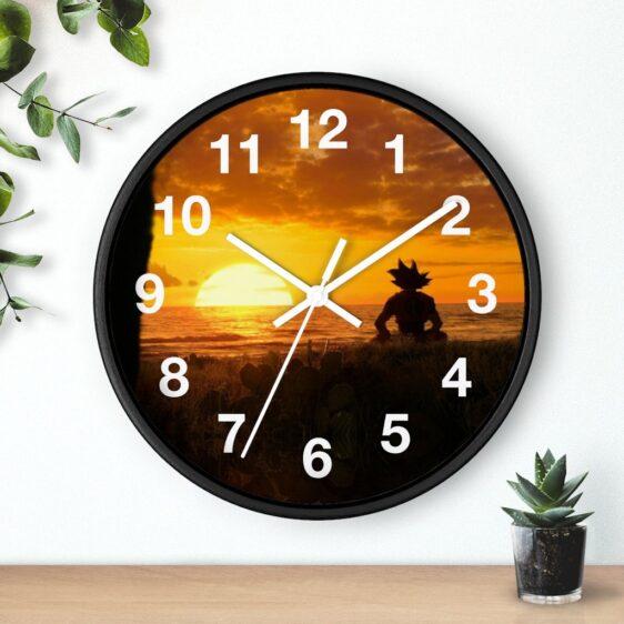 DBZ Son Goku Silhouette On Sunset Calm Vibe Wall Clock
