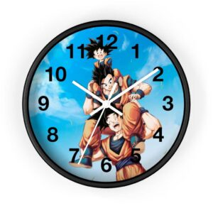 Dragon Ball Happy Goku Gohan Goten Wholesome Scene Wall Clock