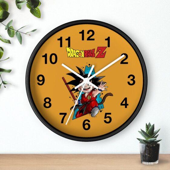 Dragon Ball Z Smiling Kid Goku Holding Stick Cute Wall Clock
