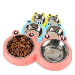 Cartoon Frog Double Dish Plastic Stainless Feeding Bowl - Woof Apparel