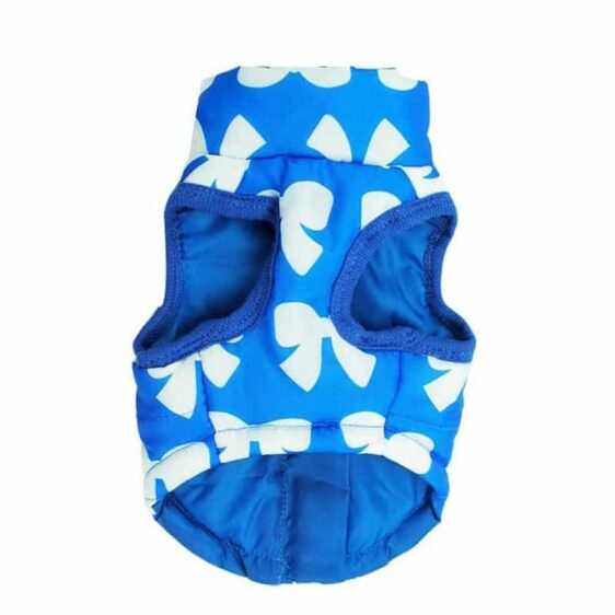 Ribbon Print Winter Vest With Leash Buckle For Small Dogs - Woof Apparel