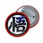 Dragon Ball Z Son Goku Wisdom Kanji Red Black Pin Button Badge