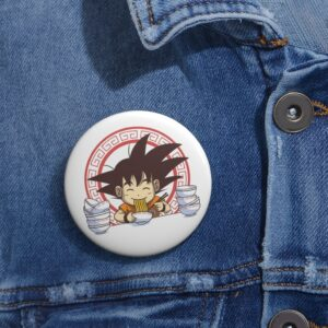 Dragon Ball Z Kid Goku Eating Ramen Cute Pin Button Badge