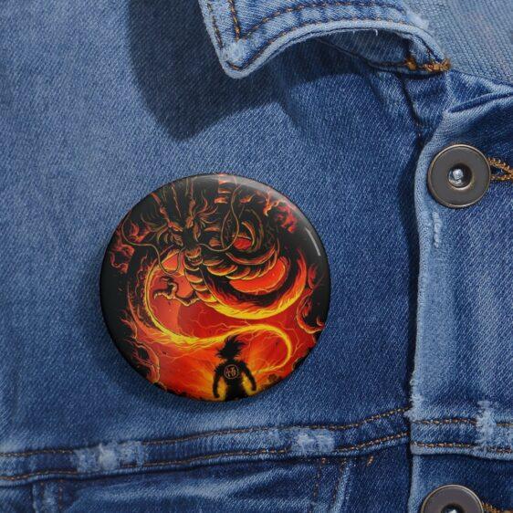 Dragon Ball Z Son Goku Facing Shenron Awesome Pin Button