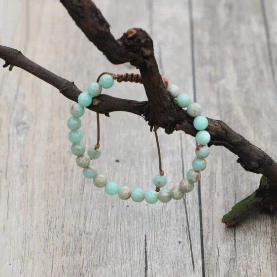 6mm Beads Braided Wrap Bracelet Rhodium Plated Light Blue Emperor Stone - Charm Bracelets - Chakra Galaxy