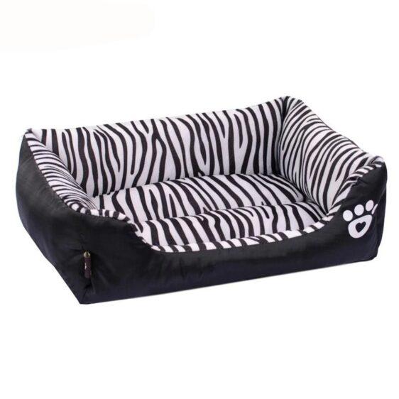 Rectangular Zebra Design Waterproof Oxford Bottom Dog Bed - Woof Apparel
