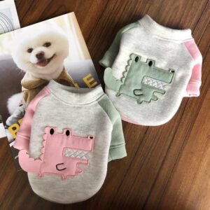 Adorable Alligator Embroid Design Warm Dog Sweatshirt - Woof Apparel
