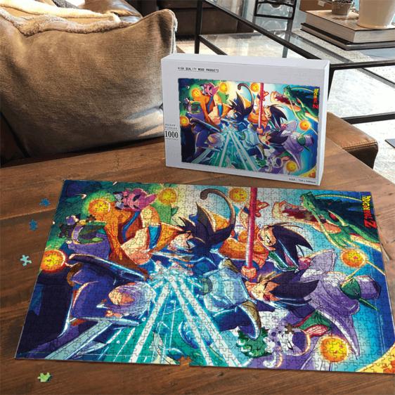 DBZ Art Classic Z Fighters Team with Kid Goku Portrait Puzzle