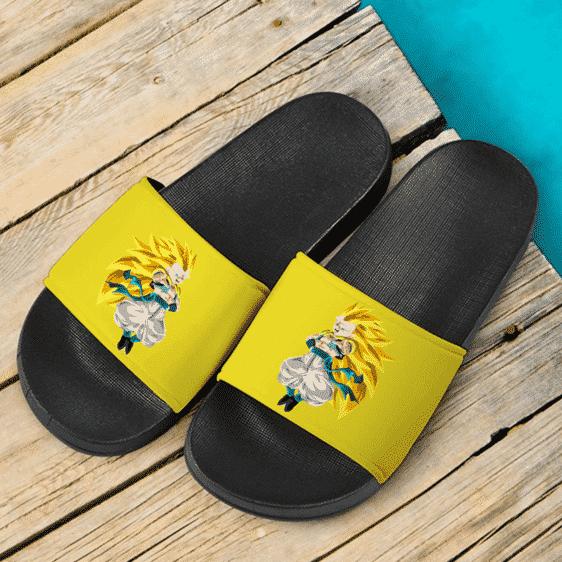 DBZ Gotenks Super Saiyan 3 Flat Artwork Fantastic Yellow Slide Sandals