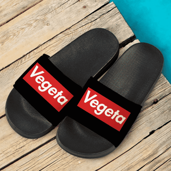 DBZ Vegeta Supreme Inspired Black Minimalist Slide Sandals