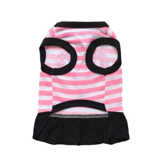 Pink Dog Heart Design Stripe Summer Cotton Puppy Dress - Woof Apparel