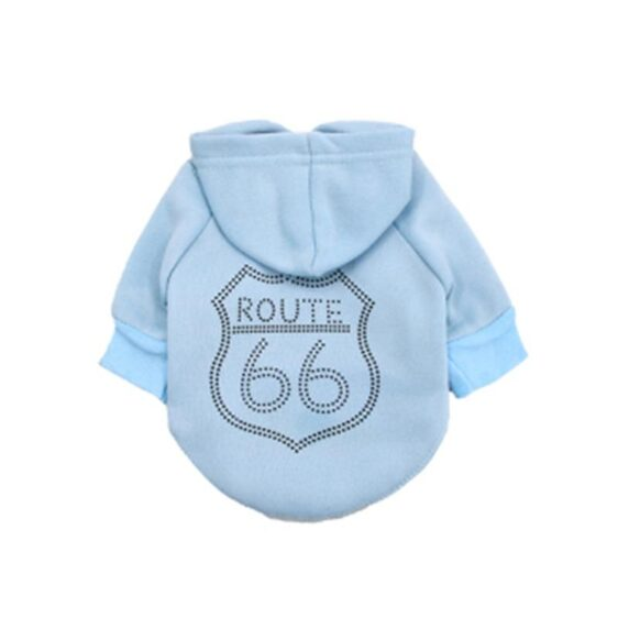 Awesome Route 66 Print Design Jacket Small Dog Hoodie - Woof Apparel