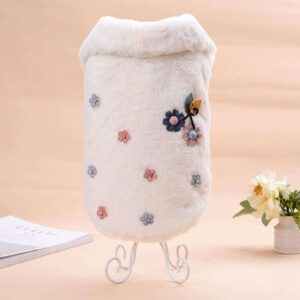 Soft Flannel Outfit With Flower Beaded Design Dog Coat - Woof Apparel