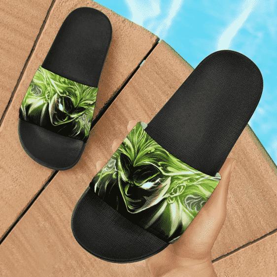 Dragon Ball Broly Super Saiyan Fiery Green Design Cool Slide Slippers