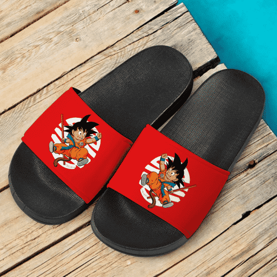 Dragon Ball GT Happy Kid Goku Holding A Stick Fantastic Slide Sandals