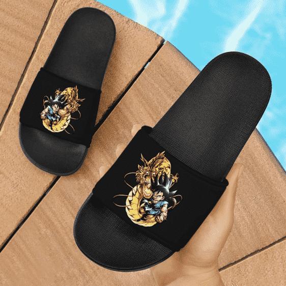 Dragon Ball GT Kid Goku Dragon Fist Dope Black Slide Footwear