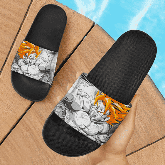 Dragon Ball Son Goku All Scarred Up Gray Cool Slide Sandals