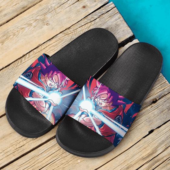 Dragon Ball Super Goku Saiyan God Kamehameha Cool Slide Sandals