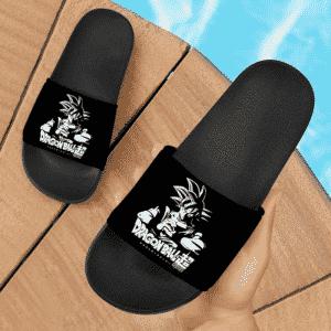 Dragon Ball Super Son Goku Ultra Instinct Minimalist Black Slide Sandals