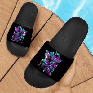 Dragon Ball Vegito Gogeta Super Saiyan Blue Retro Neon Dope Slide Sandals