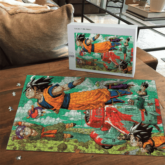 Dragon Ball Z Angel Goku Flying with Friends Landscape Puzzle