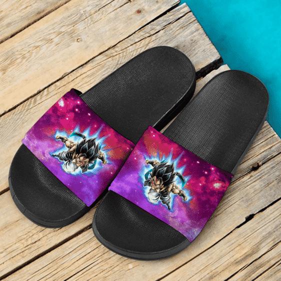 Dragon Ball Z Gogeta Base Form Galactic Background Dope Slide Slippers