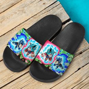 Dragon Ball Z Goku And Vegeta Super Saiyan Blue Attack Mode Slide Slippers