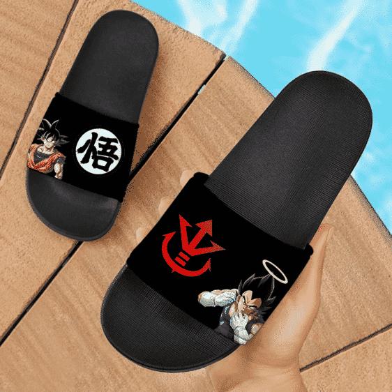 Dragon Ball Z Goku Vegeta Symbol Black Dope Slide Footwear