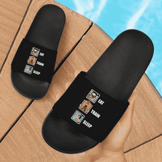 Dragon Ball Z Kakarot Eat Train Sleep Awesome Black Slide Footwear