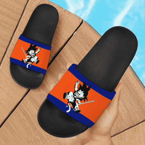 Dragon Ball Z Kid Goku Black And White Style Fantastic Slide Footwear
