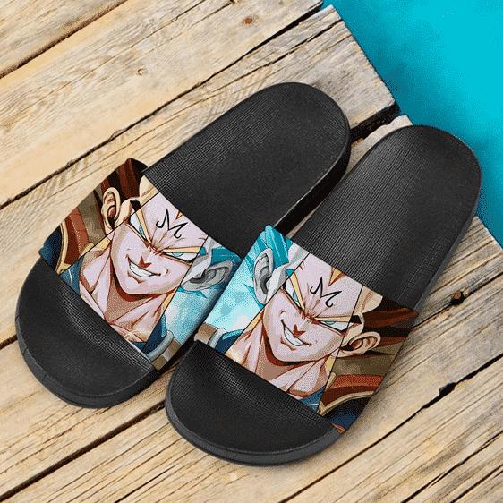 Dragon Ball Z Smirking Majin Vegeta Super Saiyan Blue Dope Slide Sandals