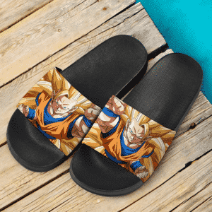 Dragon Ball Z Son Goku Super Saiyan 3 Closed Up Dope Slide Sandals