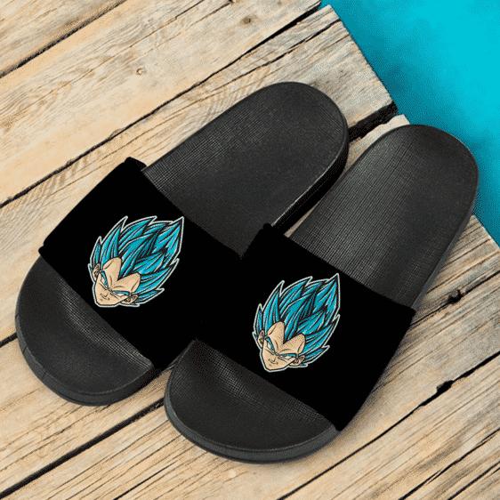 Dragon Ball Z Vegeta Super Saiyan Blue Vectorized Art Black Slide Slippers