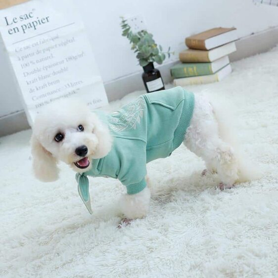 Fashionable Embroid Logo With Flower Pocket Dog Hoodie - Woof Apparel