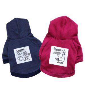 Funny Squirrel And Pigeon Print Dog Clothes Winter Hoodie - Woof Apparel