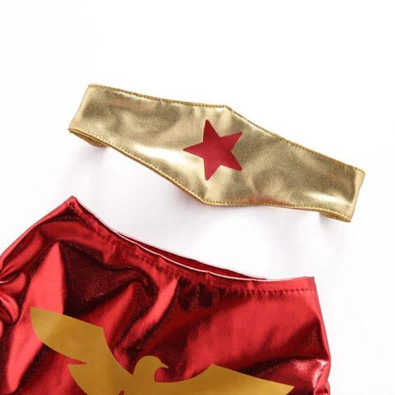 Wonder Woman Superhero with Headband Tiara Metallic Costume for Dog - Woof Apparel
