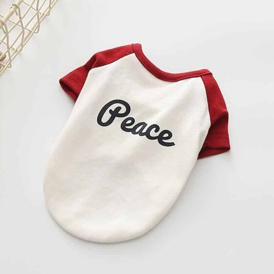 Plain Peace Red Sleeve Cotton Spring Small Dog Shirt - Woof Apparel