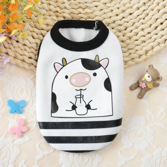 Cow Drinking Milk Design Spring Small Dog Tank Top - Woof Apparel