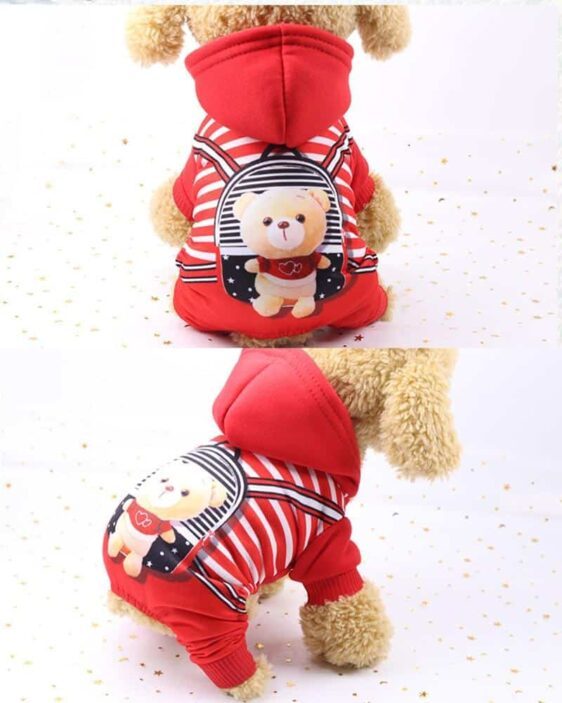Sporty Bear Character Hoodie Warm Jumpsuit For Dogs - Woof Apparel
